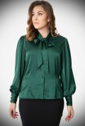The Green Satin Gwen Blouse is a vintage inspired forest green pussy bow blouse by Unique Vintage at UK stockists, Deadly is the Female.