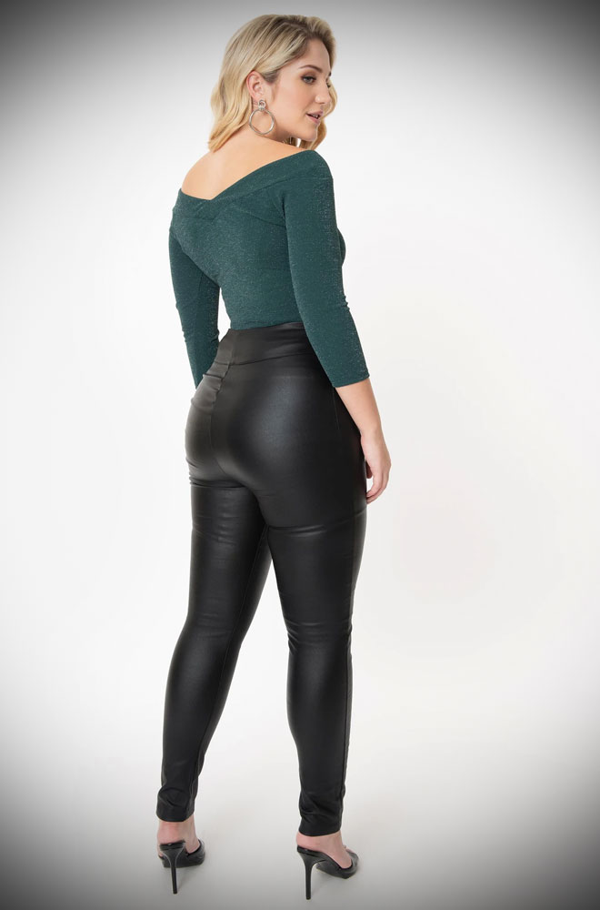 Vegan Leather Rizzo Trousers. These sassy cigarette pants are ideal to dress up or down! UK stockists of Unique Vintage.