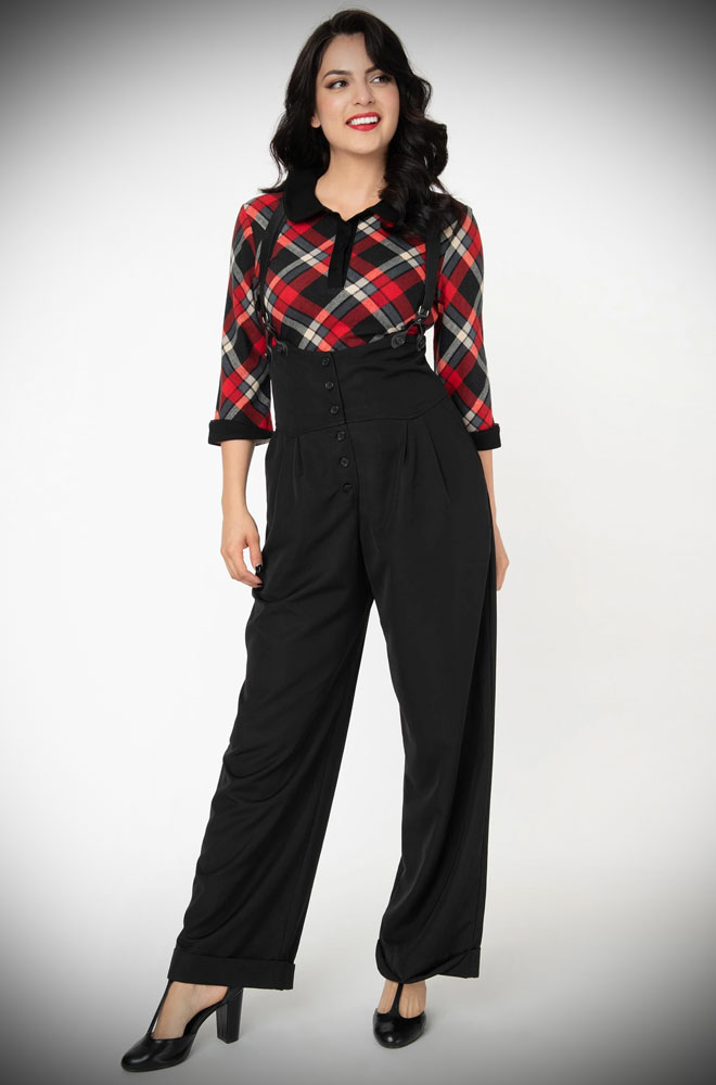 The Thelma Trousers are timeless high-waisted, wide-legged Trousers. We adore the Thirties feel of these. UK stockists of Unique Vintage.