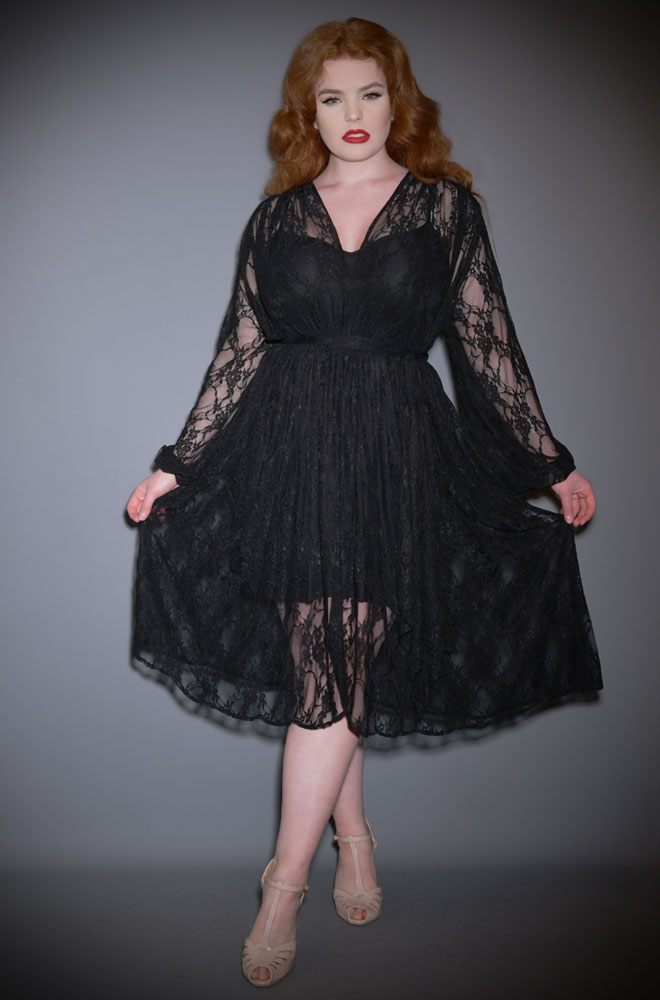 The Lace Claudia Dress is a vintage inspired, draped dress with bishop sleeves. A signature piece by Alexandra King for Deadly is the Female.