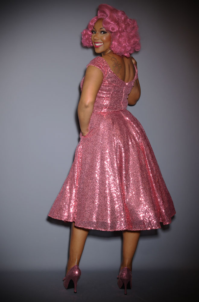 Pink Sequin Scarlett Swing Dress - sparkle in this stunning vintage-inspired swing dress. A signature piece by Alexandra King for Deadly