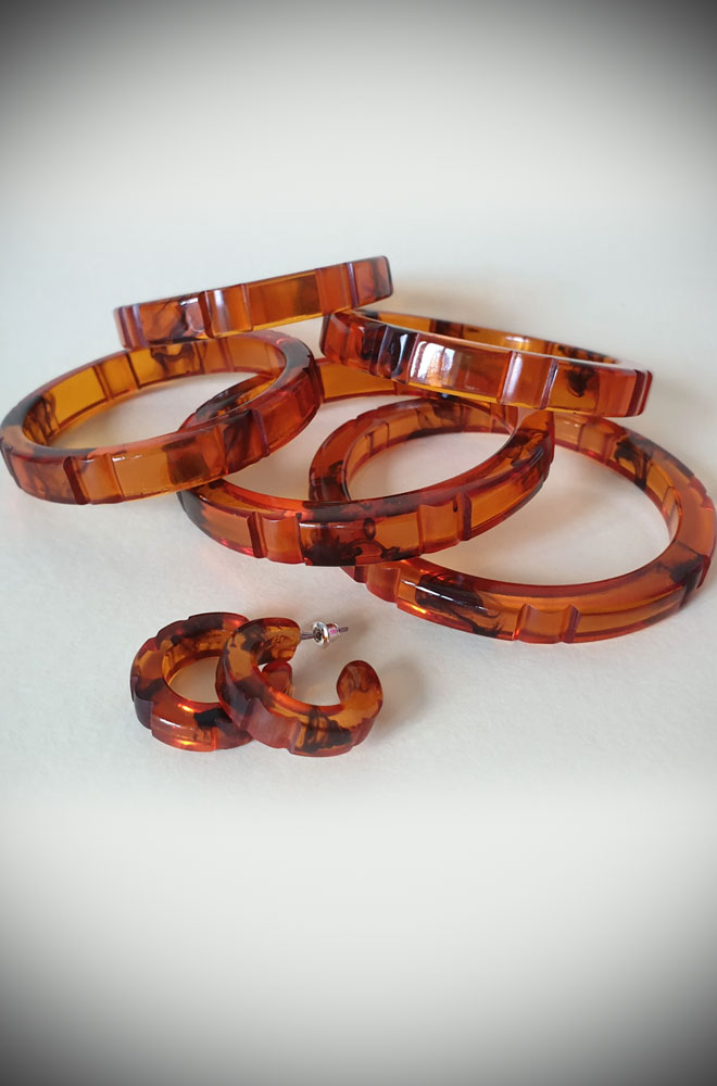 Hazel Carved Fakelite Bangle in Tortie resin. These authentic reproduction Tortie resin bangles are inspired by original bakelite bangles.