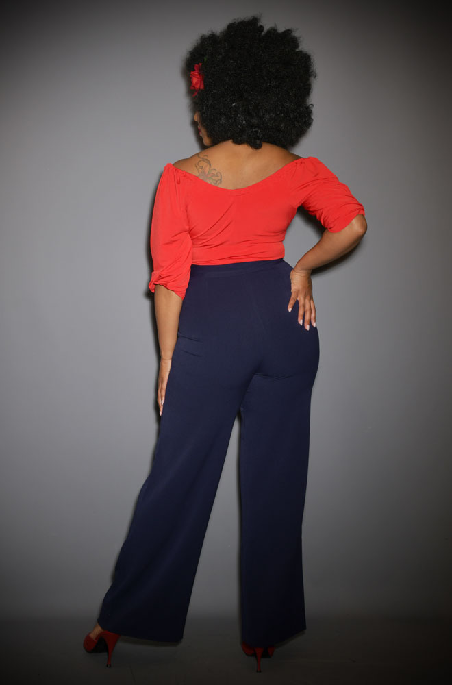 Wide leg Sailor Pants are a vintage classic! This navy blue pair are comfortable and stylish - our favourite combination!