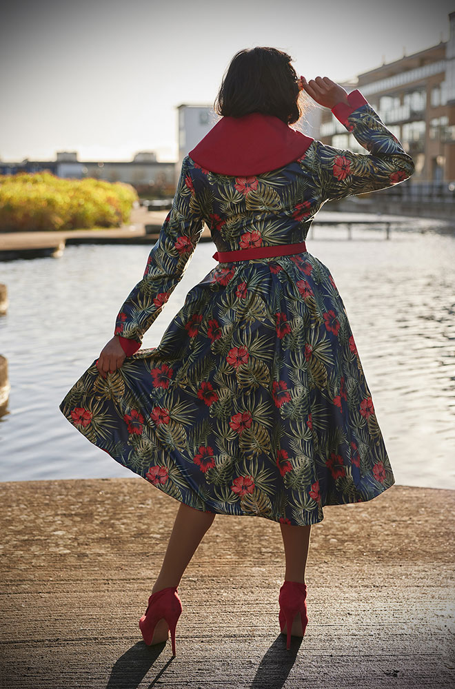 Lorily-Rose Water Resistant Swing Coat - a stunning 1950's floral reversible coat with a hood. Deadly are Miss Candyfloss UK stockists.