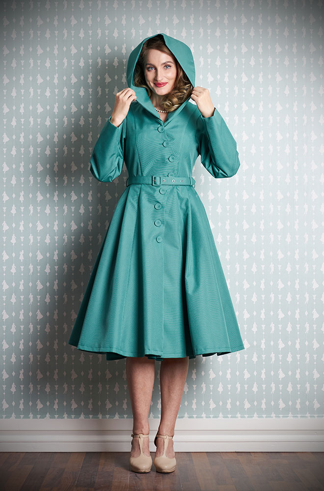 Lorin-Tiffany Water Resistant Swing Coat - a stunning 1950's blue coat with a hood. Deadly is the Female are Miss Candyfloss UK stockists.