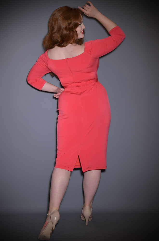 """The Coral Red Starlet Dress is the ultimate """"Old Hollywood"""" cocktail dress. Deadly are official UK stockists of Vixen by Micheline Pitt."""