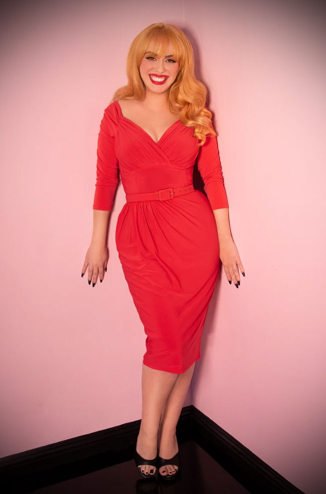 "The Coral Red Starlet Dress is the ultimate ""Old Hollywood"" cocktail dress. Deadly are official UK stockists of Vixen by Micheline Pitt."
