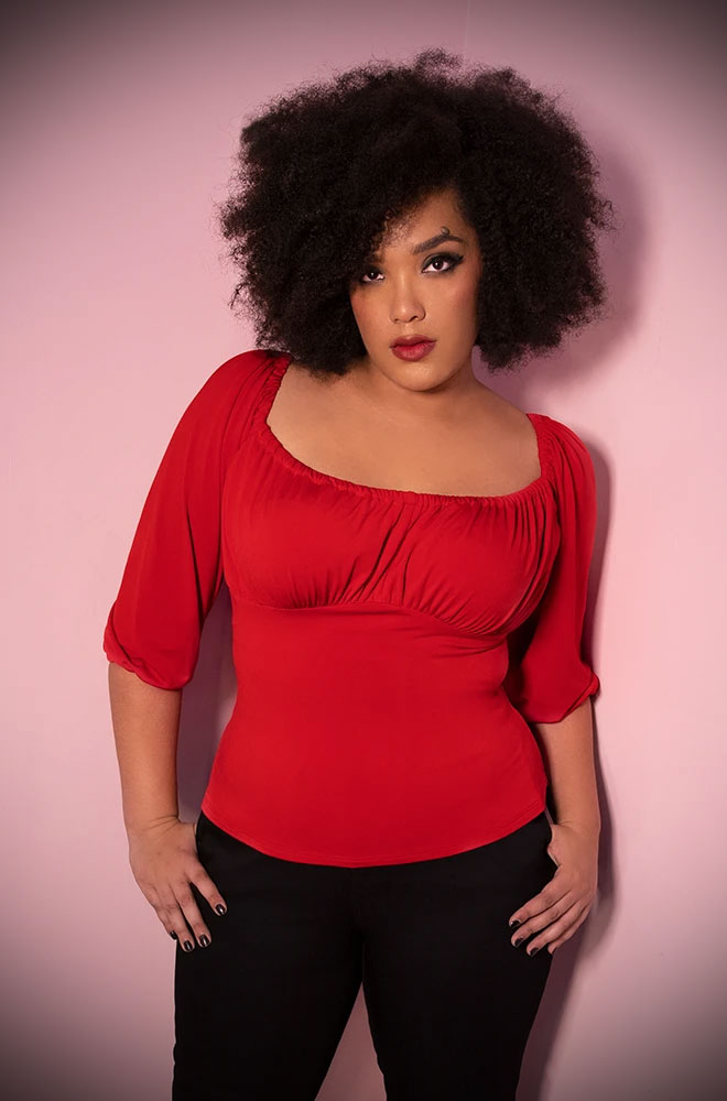 The Red Vacation Top is a chic 60s inspired peasant top. Deadly is the Female are European stockists of Vixen by Micheline Pitt.