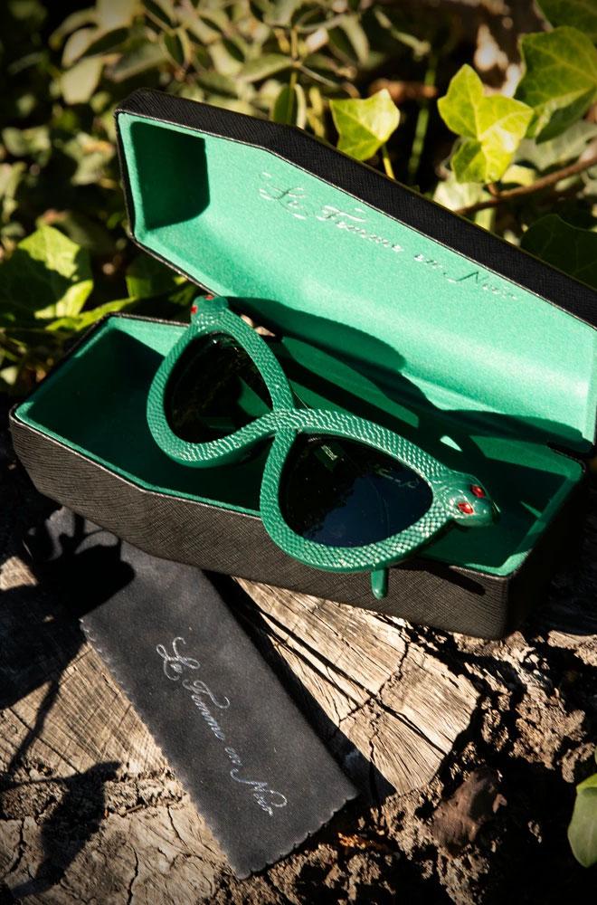 The green Serpent Sunglasses by La Femme En Noir. Deadly is the Female are UK & European stockists of the cult label La Femme En Noir