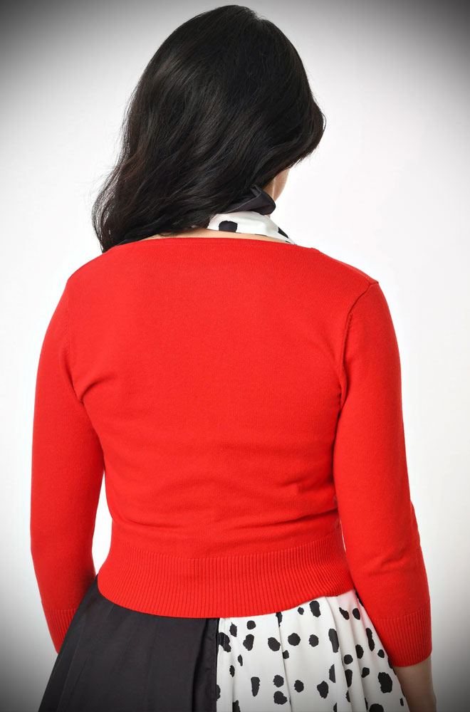 Red Dandy Cardigan - an instant wardrobe essential. Throw it over your favourite dress, wiggle skirt or jeans, for instant vintage style!