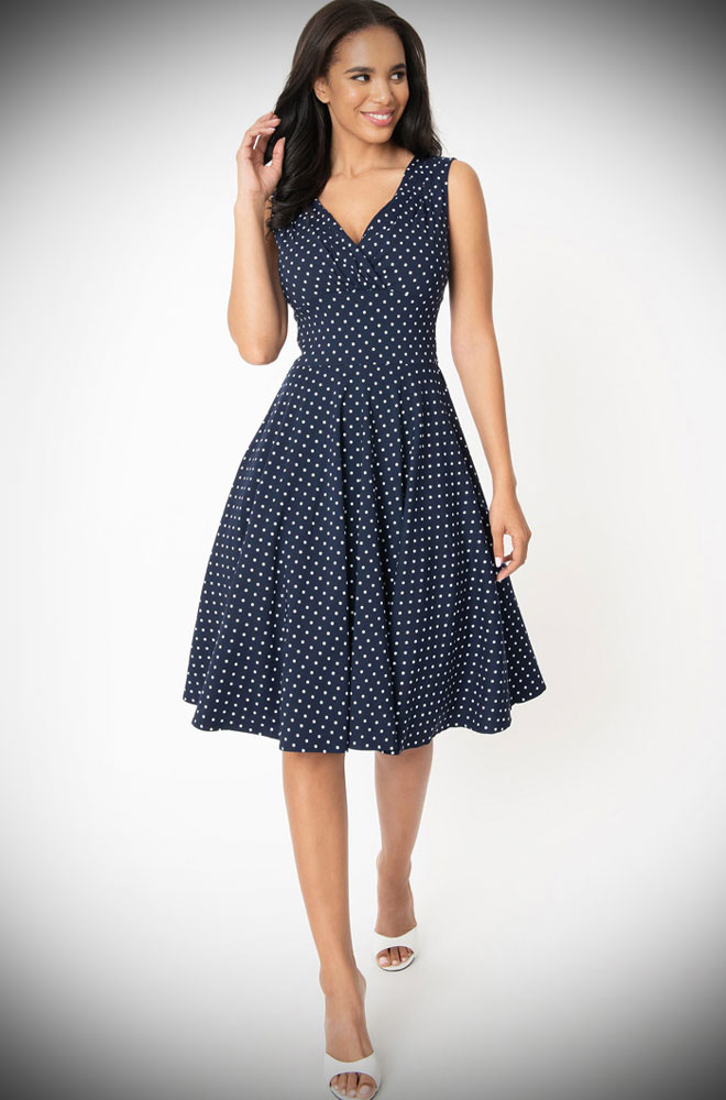 Navy Dot Delores Dress - an effortlessly elegant 50s style dress. A perfect vintage dress, from sunny picnic to work day to wedding guest