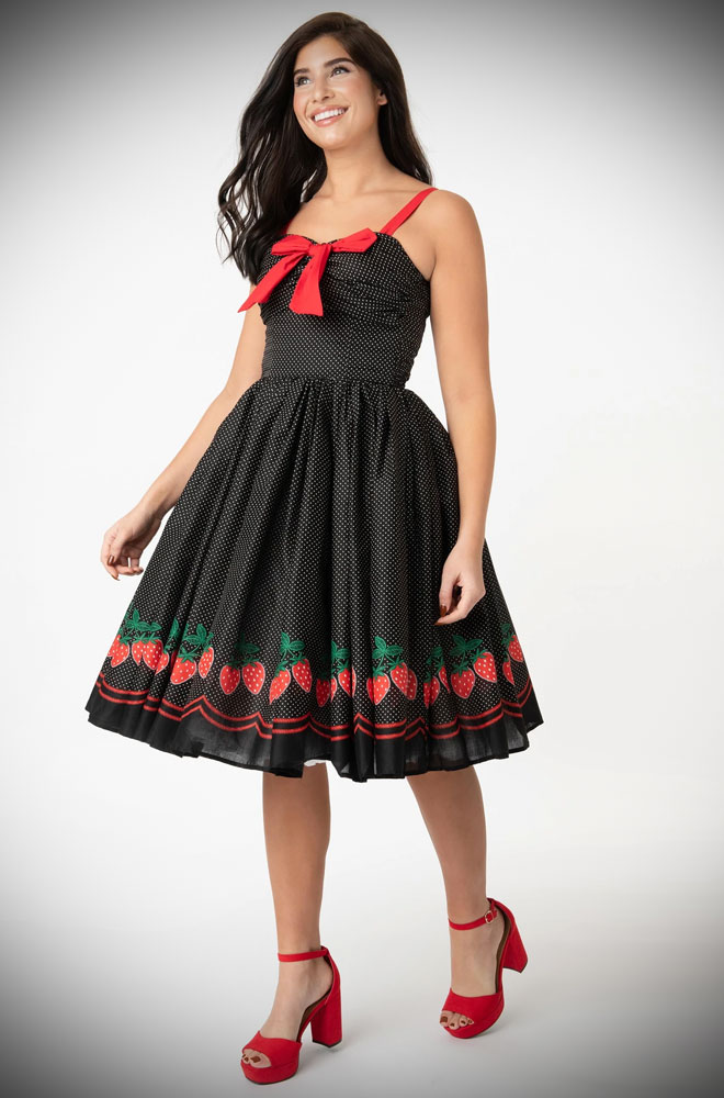 Strawberry Golightly Swing Dress - a beautiful 50s style dress. Deadly is the Female are official stockists of Unique Vintage.