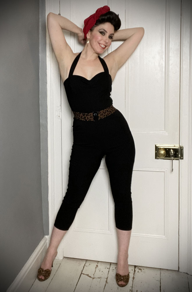 The Marcel Jumpsuit is effortlessly cool! This sassy black jumpsuit is ideal to dress up or down! UK stockists of Unique Vintage.