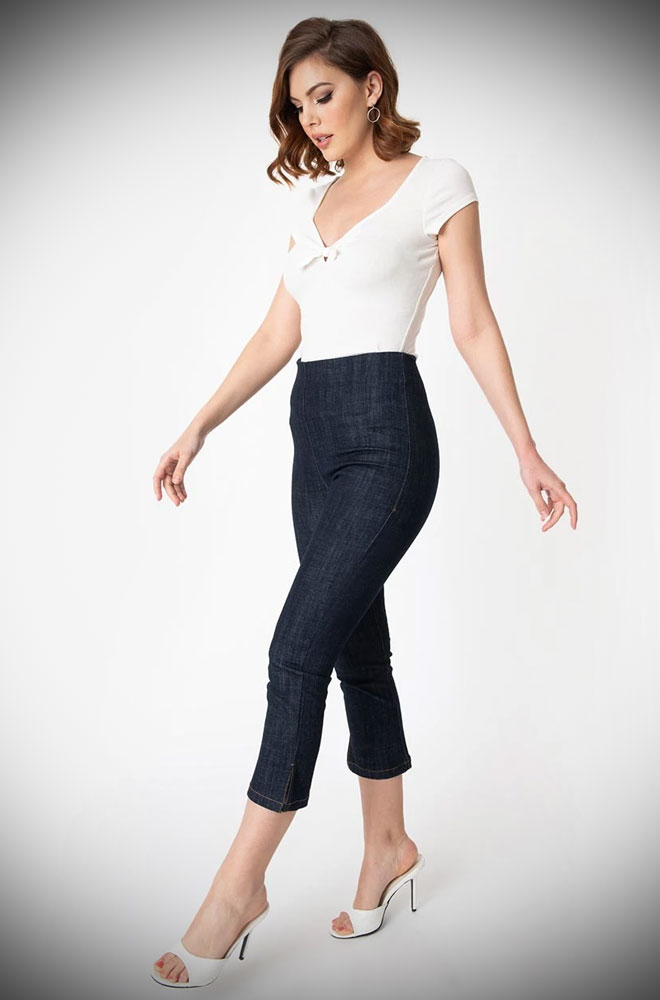 The Denim Blue Rachelle Capris are effortlessly cool! These cropped trousers are ideal to dress up or down! UK stockists of Unique Vintage.