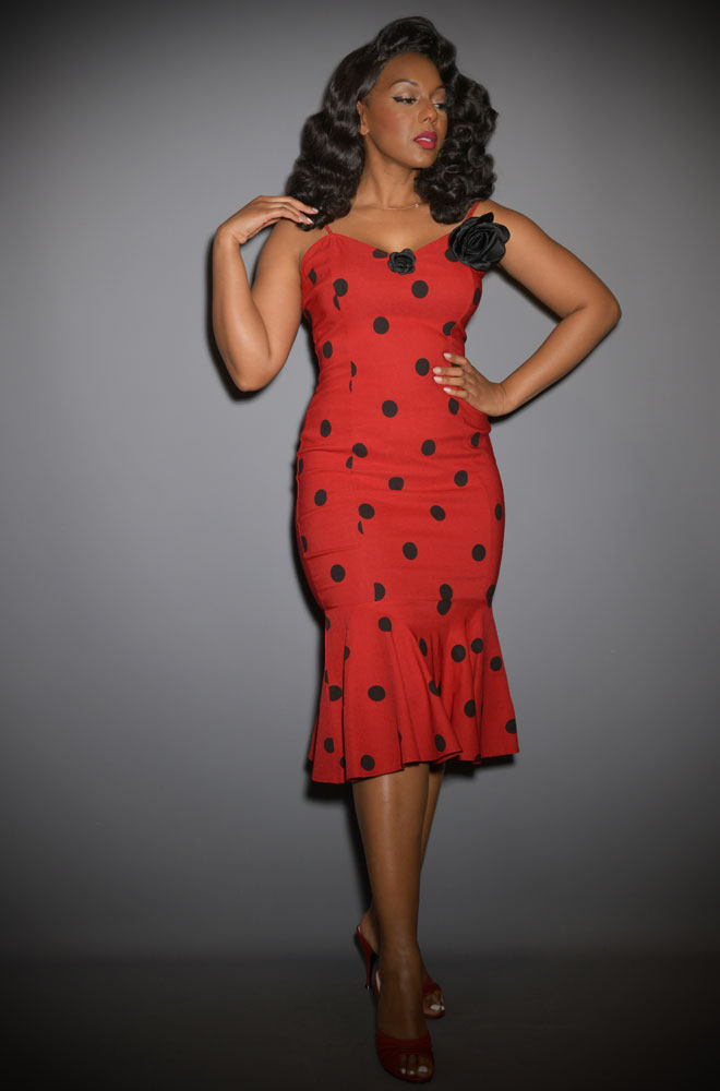 Rizzo Dress - polka dot, mermaid wiggle dress inspired by Rizzo's outfit in Grease. Deadly are official stockists of Unique Vintage.