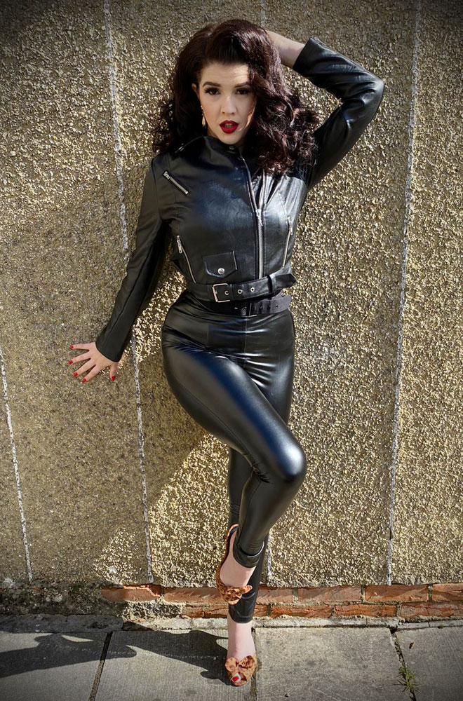 Sandy Faux Leather Trousers - inspired by Sandy's outfit in the final scenes of Grease. Deadly are official stockists of Unique Vintage.