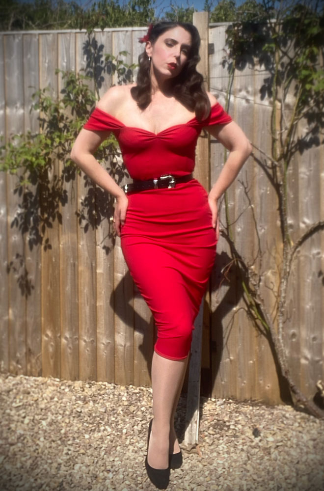 The Sass Dress is a timeless yet sassy wiggle dress in lipstick red by Alexandra King for Deadly is the Female Collection.