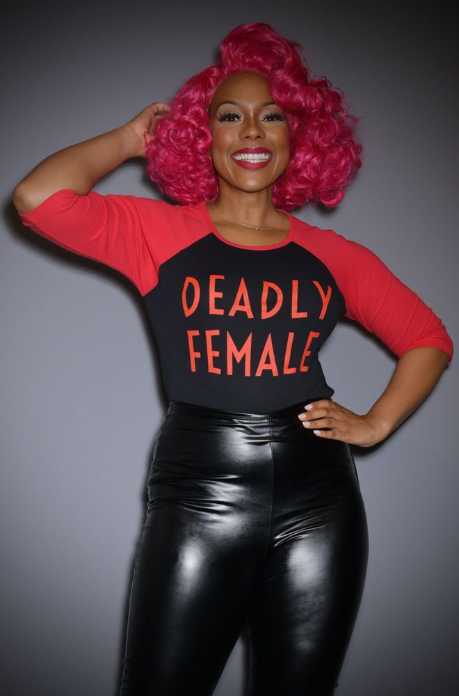 Deadly Female Raglan T-Shirt - a high-quality black & red top. This t-shirt is bold and sassy as well as soft and stylish!