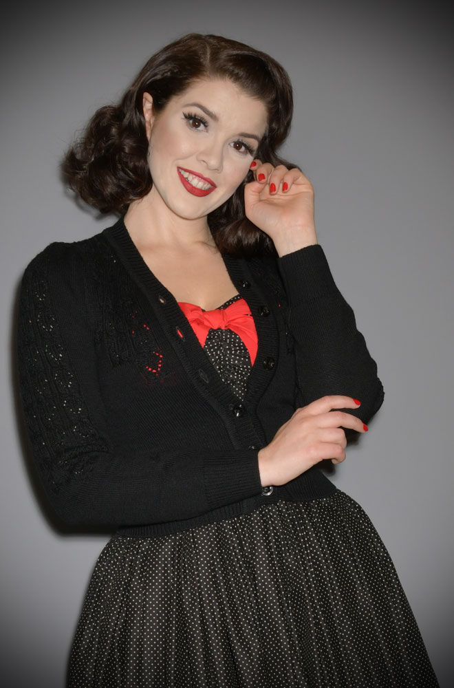 Black Peggy Sue Cardigan by Emmy Design is a beautiful vintage wardrobe essential. Deadly is the Female are UK Stockists of Emmy Design.