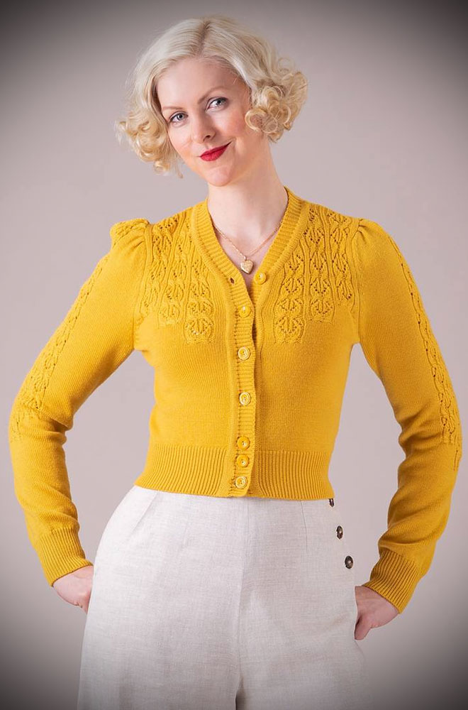 Marigold Peggy Sue Cardigan by Emmy Design is a beautiful vintage wardrobe essential. Deadly is the Female are UK Stockists of Emmy Design.