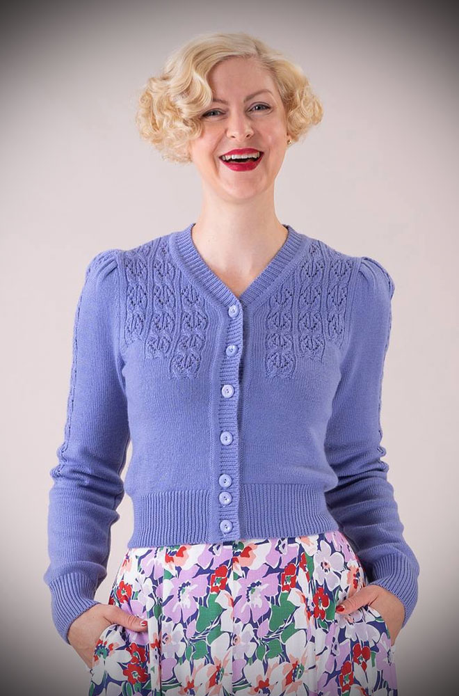 Periwinkle Peggy Sue Cardigan by Emmy Design is a beautiful vintage wardrobe essential. Deadly is the Female are UK Stockists of Emmy Design.