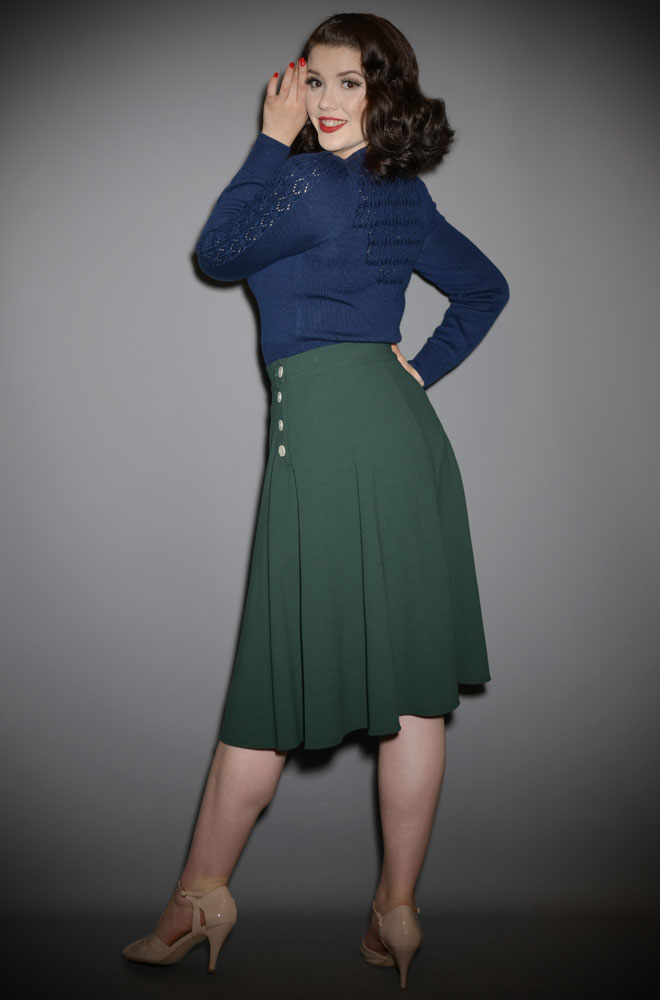 We are so excited about the graceful Green 40s Whirlaway Skirt! It is so versatile and will take you from work to the dance floor with ease!