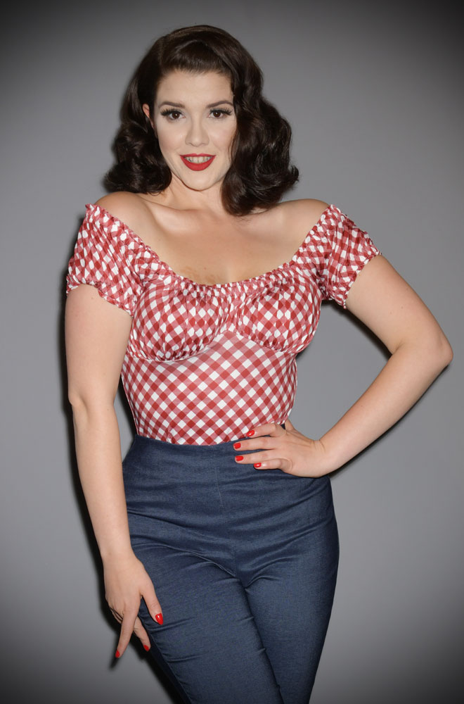 Bernadette Top - a 50's inspired peasant top in deep red and white gingham. Deadly is the Female are official stockists of Unique Vintage.