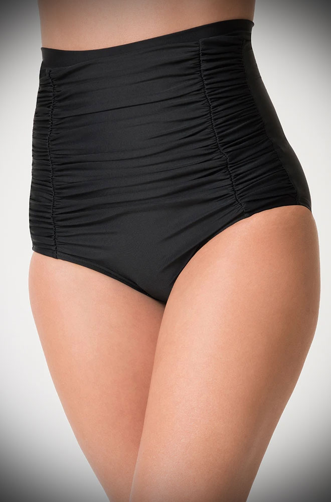 The Black Monroe Bikini Bottoms are sultry and bewitching retro swimwear. Turn heads in this knockout vintage-inspired bikini!