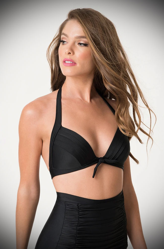 The Black Monroe Bikini Top is sultry and bewitching retro swimwear. Turn heads in this knockout vintage-inspired bikini!