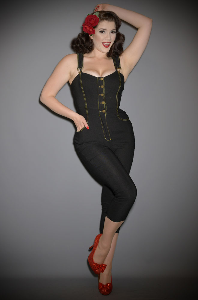 The Eartha Jumpsuit is effortlessly cool! This rockabilly jumpsuit will ensure you feel sassy is a flash! Unique Vintage UK stockists.