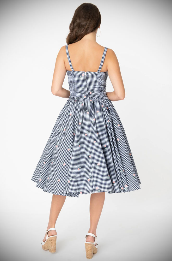 Floral Gingham Golightly Swing Dress - a beautiful 50s style dress. Deadly is the Female are official stockists of Unique Vintage.