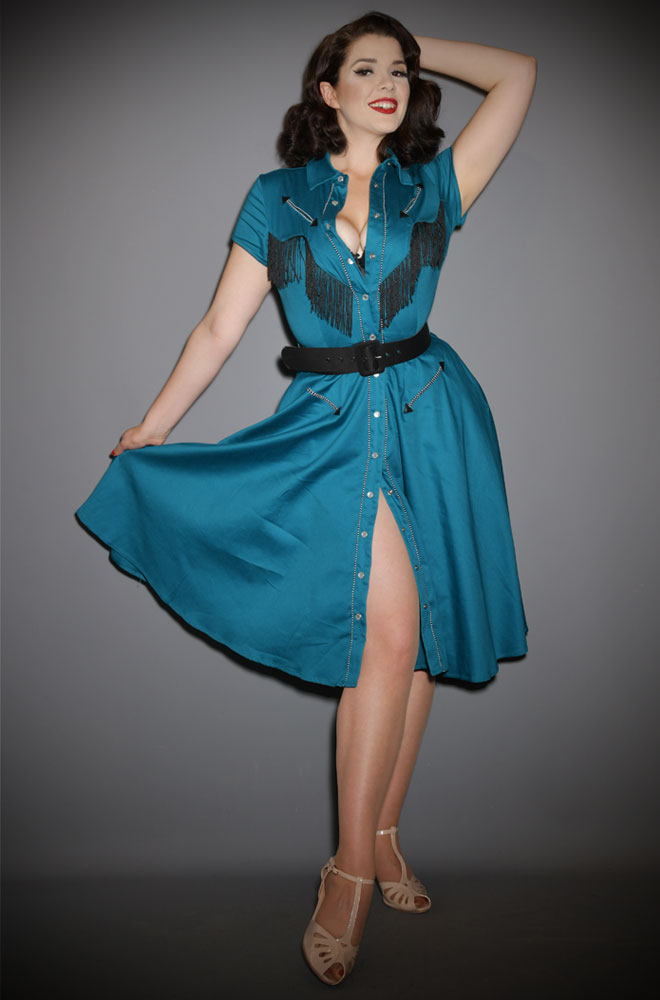 Teal Madeline Swing Dress - a beautiful 50s style western fringe dress. Deadly is the Female are official UK stockists of Unique Vintage.