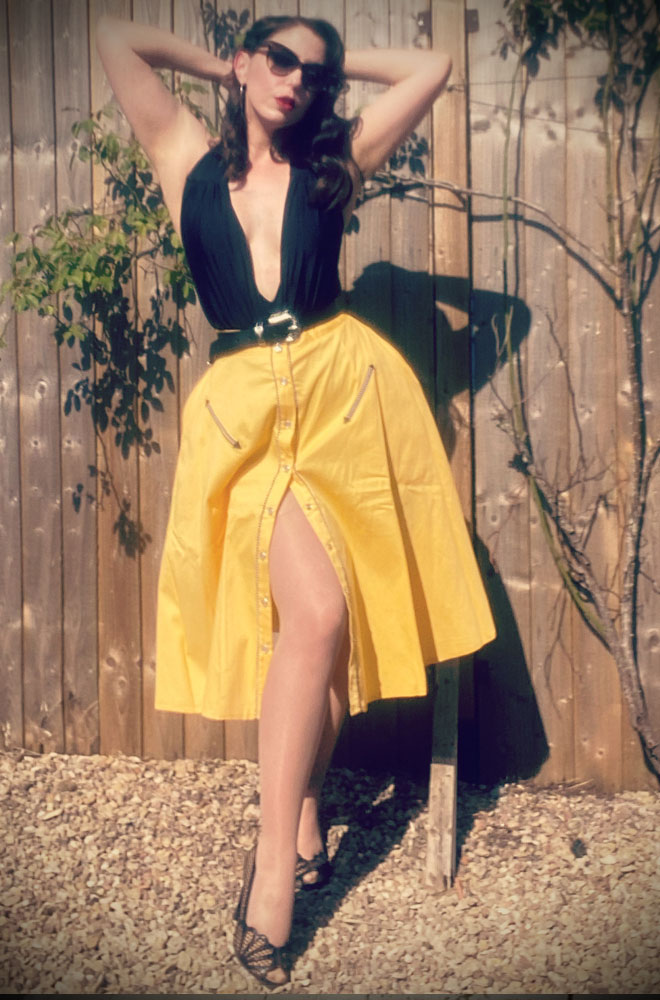 The Oakley Swing Skirt is a fun Western-inspired swing skirt. Ideal to dress up or down! Giddy up cowgirl! UK stockists of Unique Vintage.
