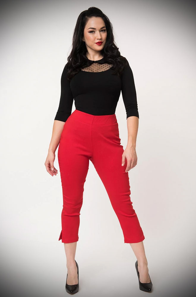 The Red Rachelle Capris are effortlessly cool! These cropped trousers are ideal to dress up or down! UK stockists of Unique Vintage.