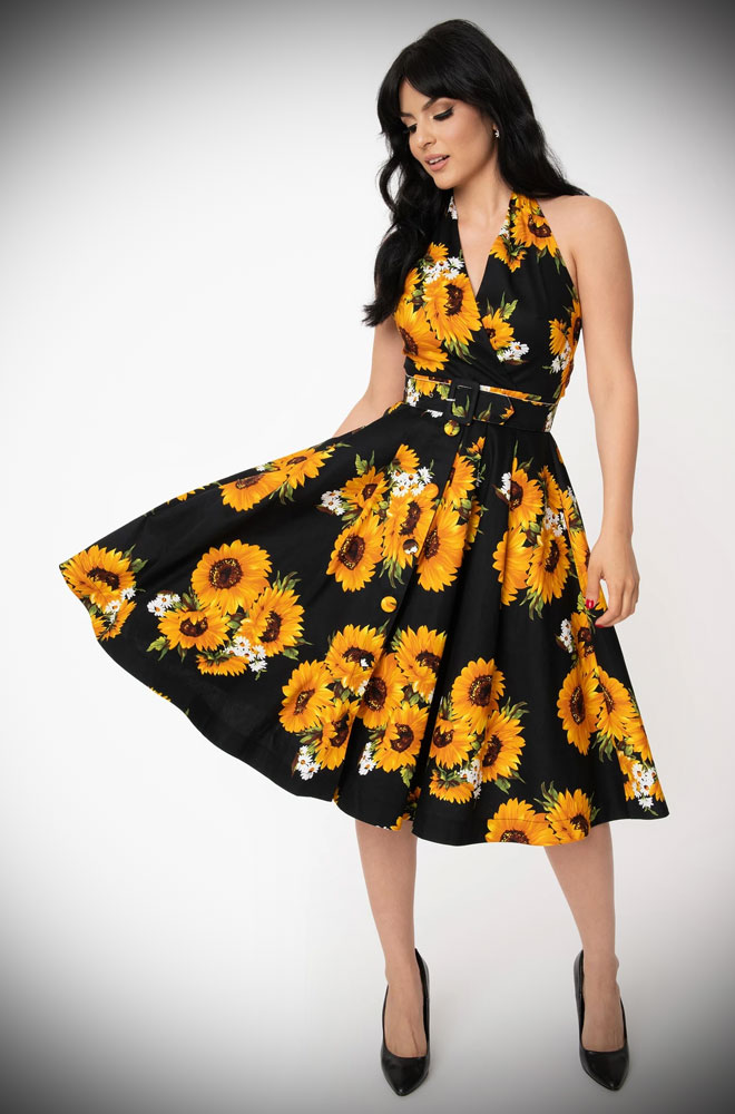 Sunflower Swing Dress - a beautiful 50s style dress in black and yellow. Deadly is the Female are official stockists of Unique Vintage.
