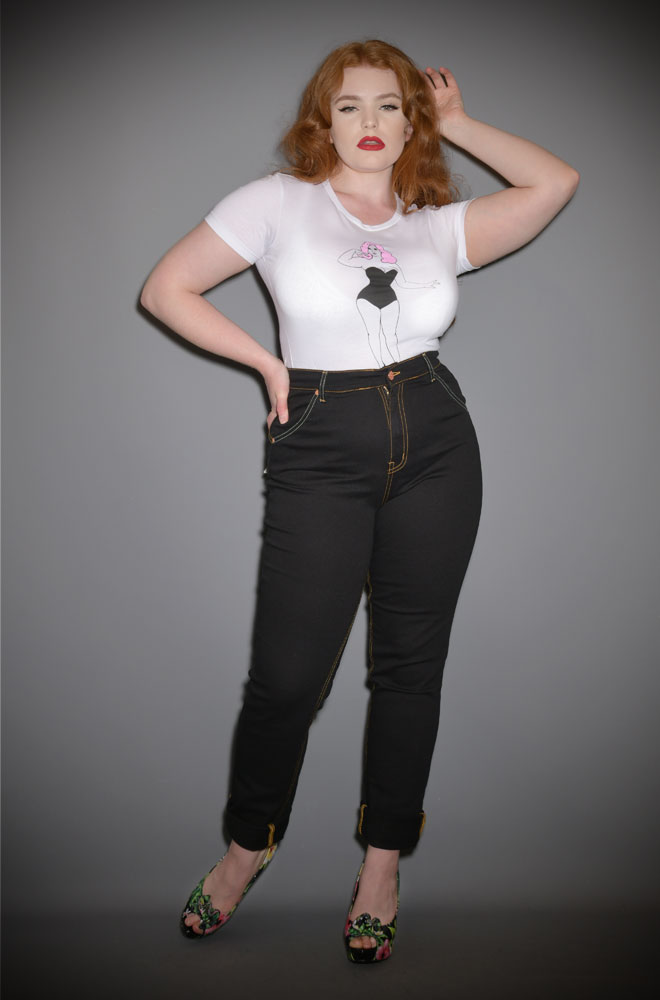 Lady K Loves Black Classic Jeans - stretch denim with a high waist and slim leg. We are one of the only places in the UK where you can try these jeans on.