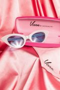Vintage style White Fashion Doll Cat-Eye Sunglasses by Vixen at Micheline Pitt at Deadly. Effortlessly add some pinup glamour to your day!