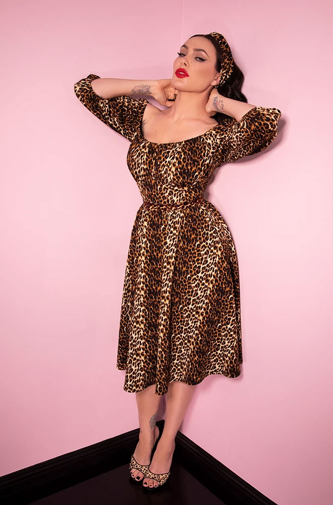 The Leopard Vacation Dress is a chic 60s inspired wrinkle resistant dress. Deadly is the Female are UK stockists of Vixen by Micheline Pitt.