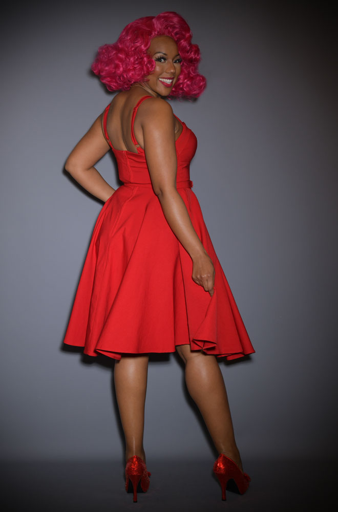 The Red Maneater Swing Dress is a real bombshell! The killer silhouette is a bad gals dream. Deadly is the Female are UK stockists of Vixen by Micheline Pitt.