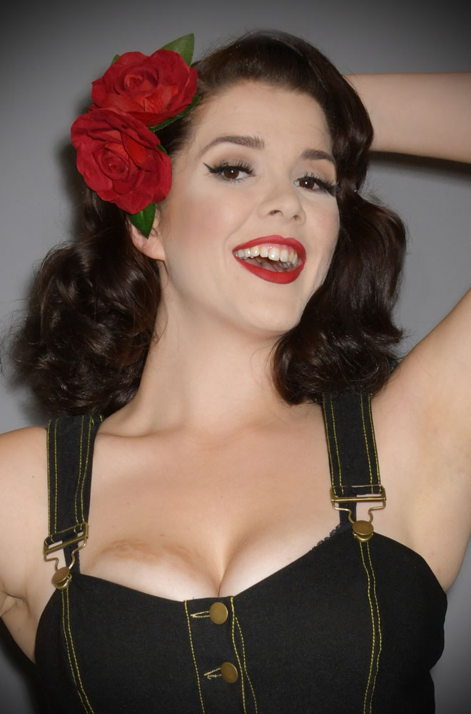 Red Double Rose Hair Flower - A classic red rose mounted on a hair clip with leaves. Perfect for pinups & vintage lovers.