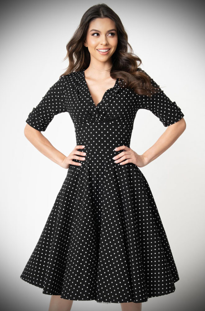 Black Dot Delores Dress - an effortlessly elegant 50s style dress. A perfect vintage dress, from sunny picnic to work day to wedding guest