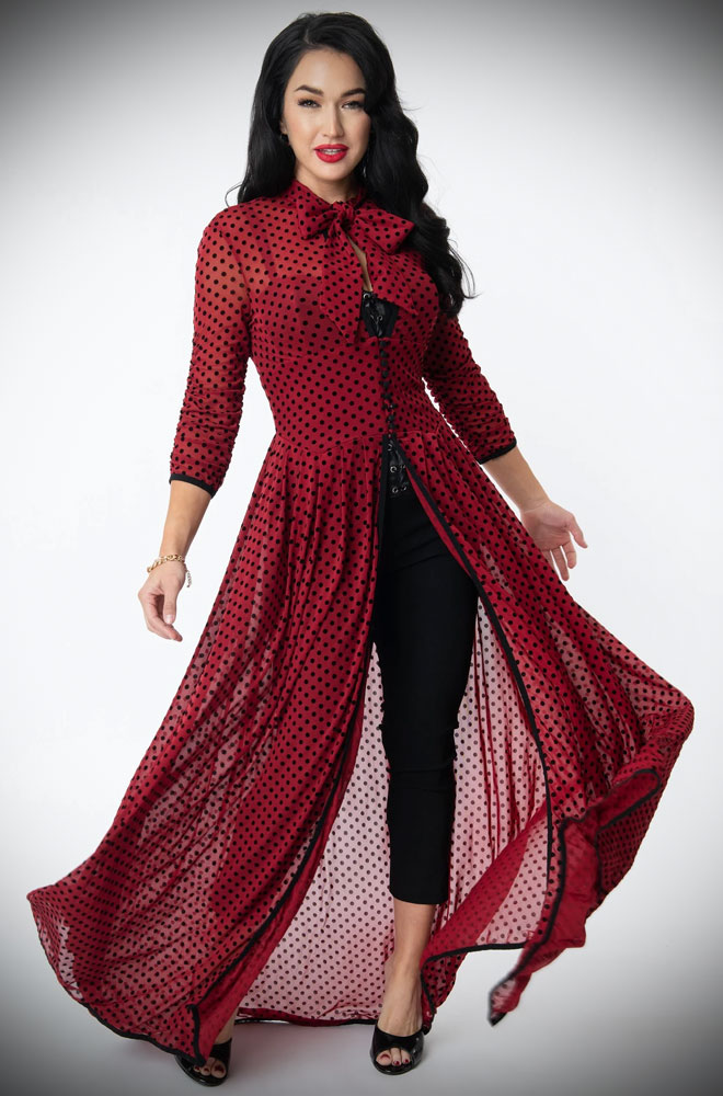 Burgundy swiss dot Tallullah Duster. This vintage style, sheer duster is old-fashioned glamour at its best! Unique Vintage UK stockists.