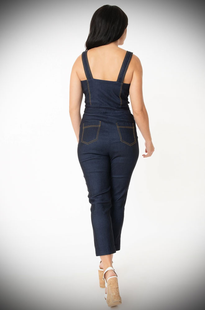 The Denim Eartha Jumpsuit is effortlessly cool! This rockabilly jumpsuit will ensure you feel sassy in a flash! Unique Vintage UK stockists.