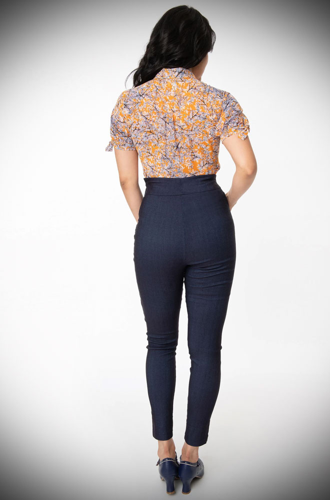 The Rizzo Indigo Trousers are effortlessly cool! These sassy cigarette pants are ideal to dress up or down! UK stockists of Unique Vintage.