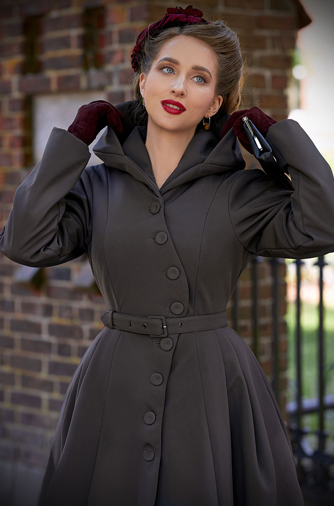 Charcoal Loris Water Resistant Swing Coat - a stunning 50's coat with red lining & hood. Deadly is the Female - Miss Candyfloss UK stockists.