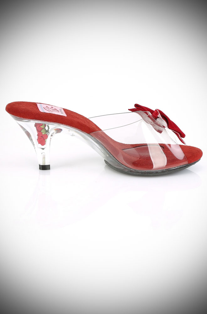 The Red Belle Shoes feature a vintage-style kitten heel. The red rose inside the clear plastic fulfils our Disney princess dreams!