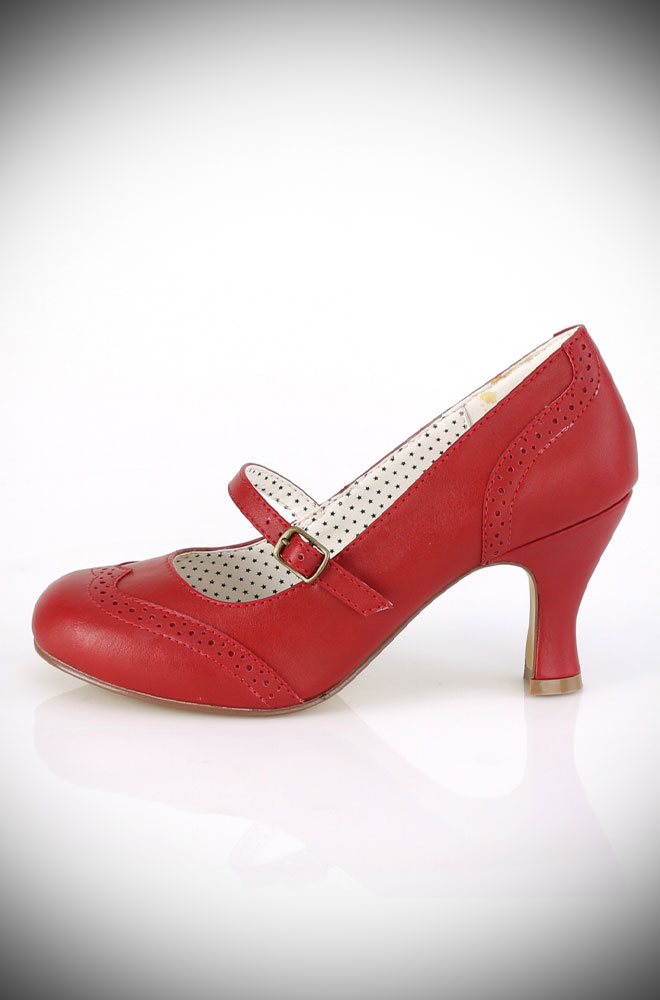 These Red Flapper Shoes are timeless vintage-style shoes. These fabulous faux leather heels are the perfect finishing touch to your look.
