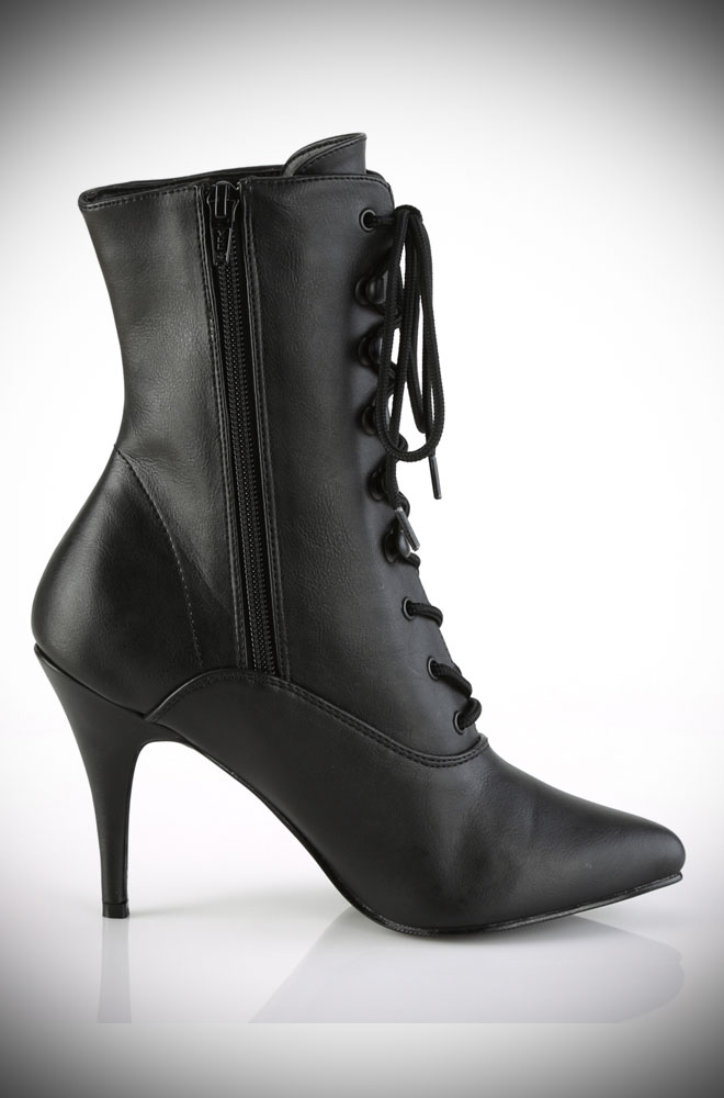 Get ready to strut in the Faux Leather Vanity Boots! Vintage-style ankle boots with a killer heel for all your Femme Fatale dreams.