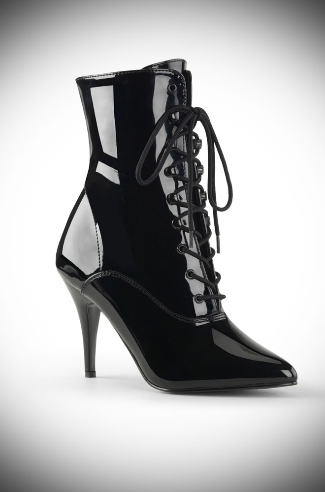 Get ready to strut in the Black Patent Vanity Boots! Vintage-style ankle boots with a killer heel for all your Femme Fatale dreams.