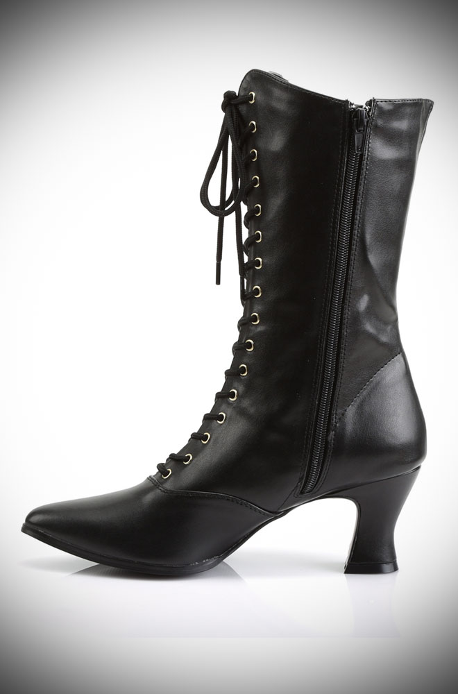 Effortless vintage style with the Faux Leather Victorian Boots! These mid-calf length boots are an old-fashioned dream.